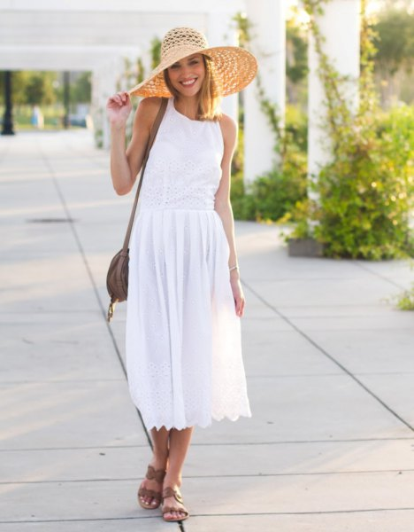 white airy midi dress outfit