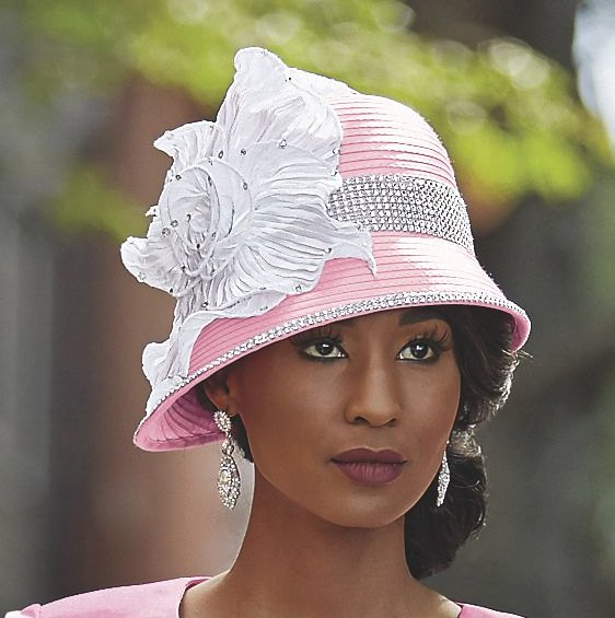 white bucket church hat with matching skirt suit