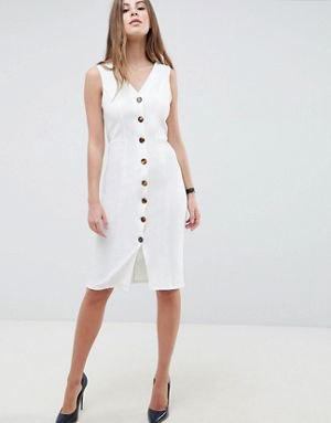 white knee-length sheath dress with V-neck at the front