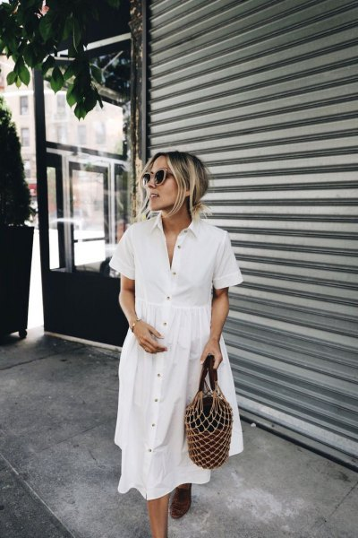 white cotton shirt dress with buttons and sandals