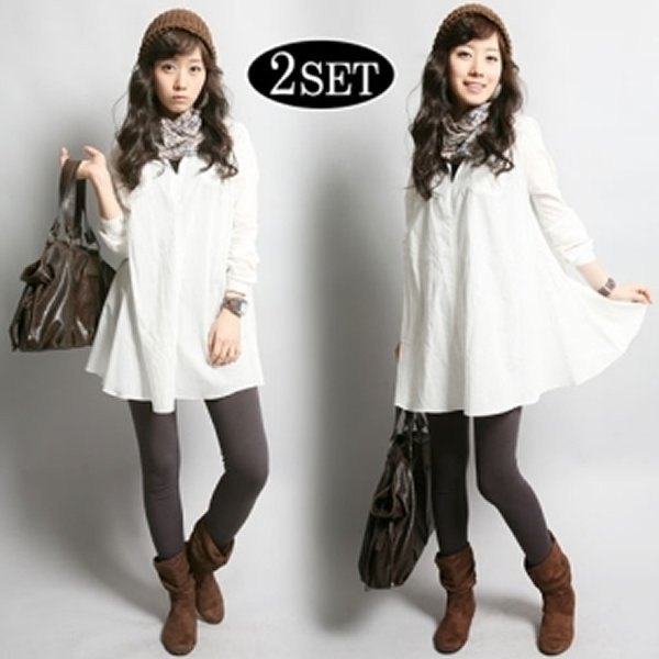 Flared shirt with white button and checked scarf and gray leggings