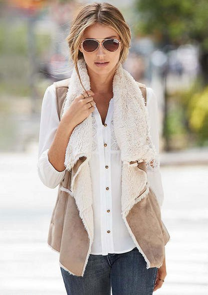 white lace shirt with buttons and light gray lambskin vest