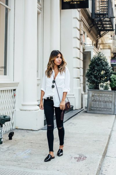 white linen shirt with buttons, ripped skinny jeans and black leather shoes
