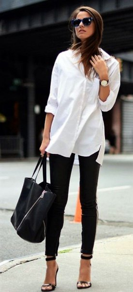 white long blouse with buttons, black skinny jeans and open toe heels