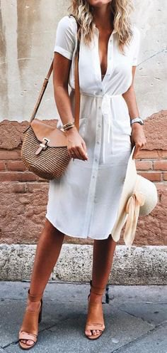 white midi summer dress with button placket and light pink open toe heels