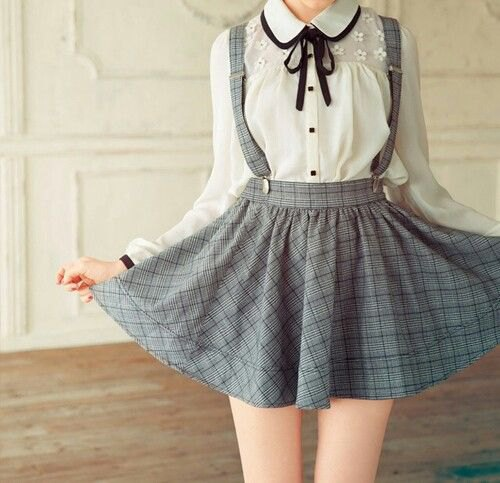 white blouse with round collar and gray plaid suspender dress