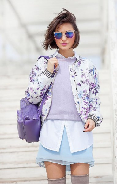 white shirt with buttons and bomber jacket with floral pattern