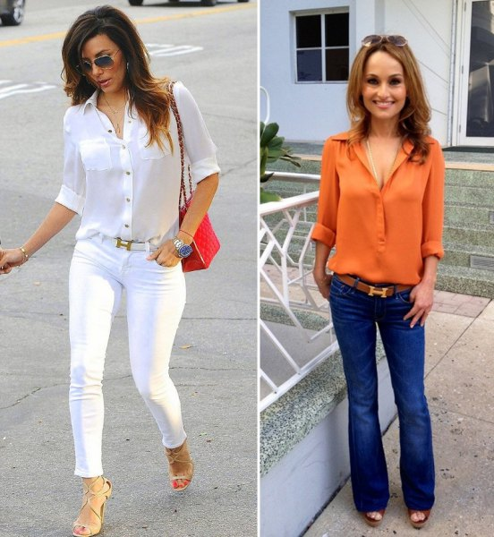 white shirt with buttons and matching skinny jeans