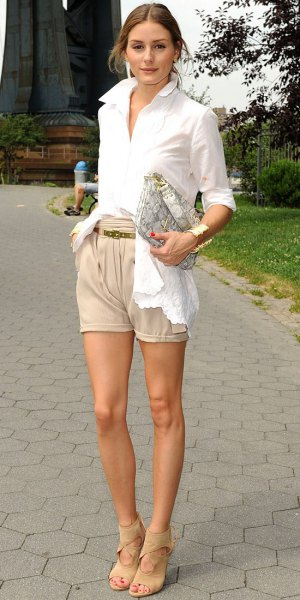 white shirt with buttons beige khaki shorts
