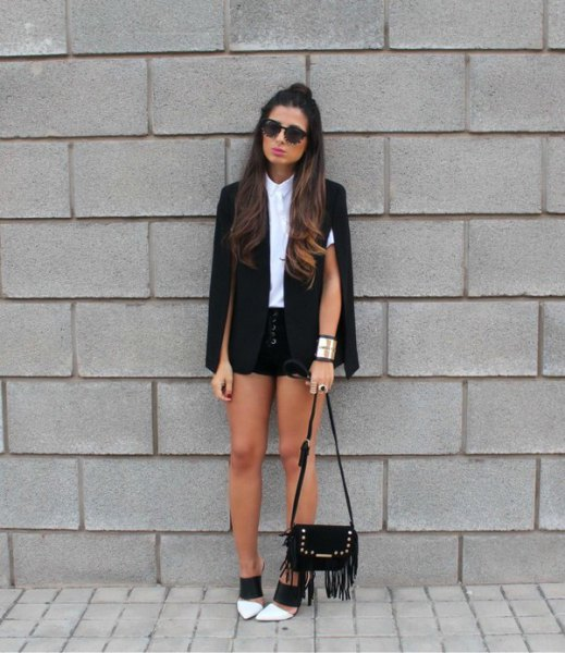 white shirt with buttons black mini shorts