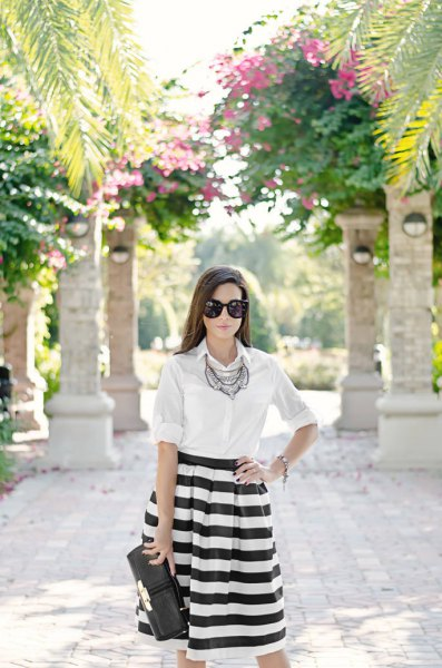 white button-up shirt boho necklace