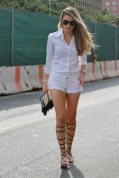 white shirt-denim shorts with buttons
