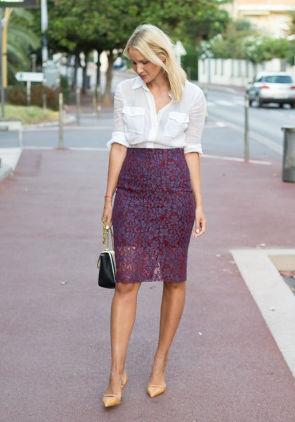 white button up shirt with high waist lace skirt