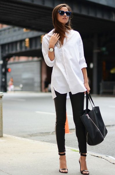 white button-up shirt leather leggings heels