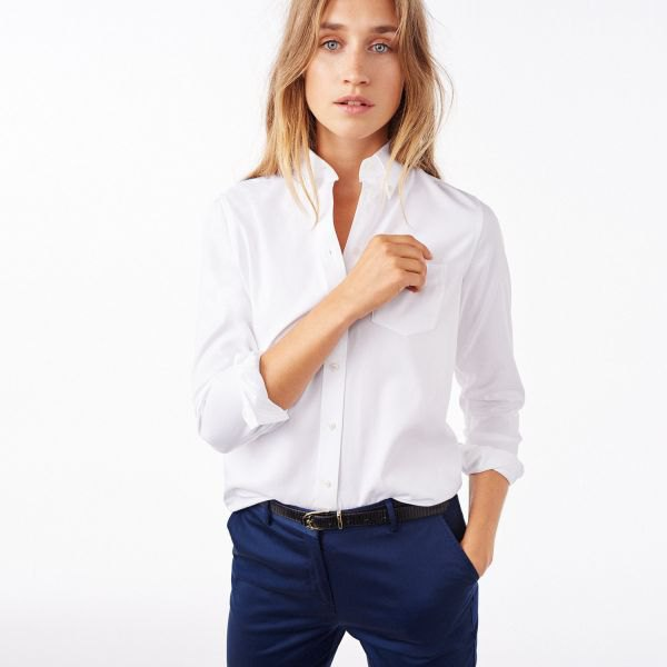 navy chinos white button-up shirt