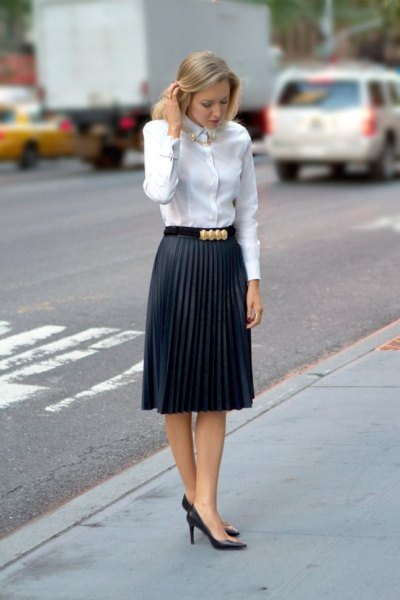 white shirt with kink and pleated midi pencil skirt