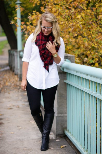 white shirt with buttons, red and black ponte trousers with a checked scarf