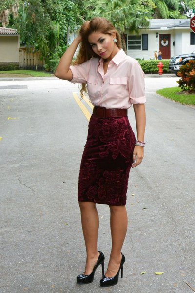 white button up shirt red velvet pin skirt