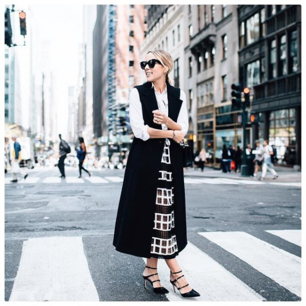 white button-up shirt with sequin maxi skirt