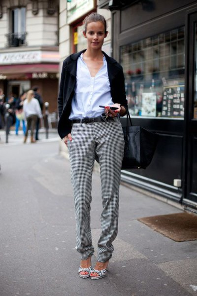 white shirt with buttons, black casual blazer and checked flannel trousers