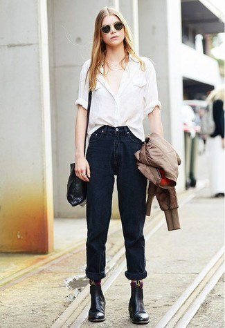 white shirt with buttons, black jeans with cuffs and leather ankle boots