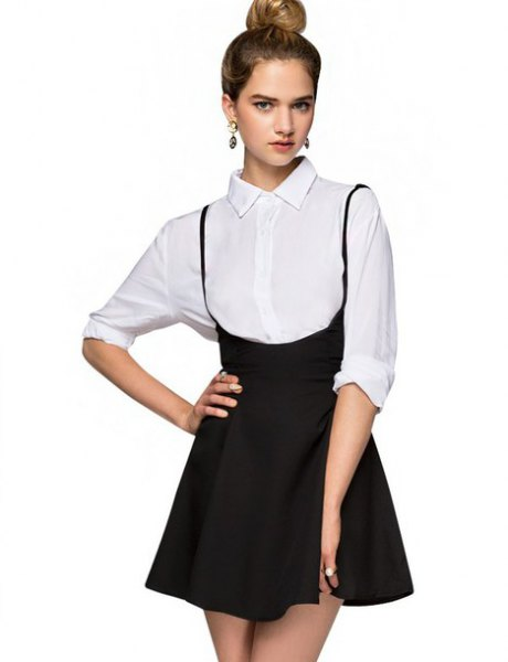 white shirt with buttons and black mini high skirt