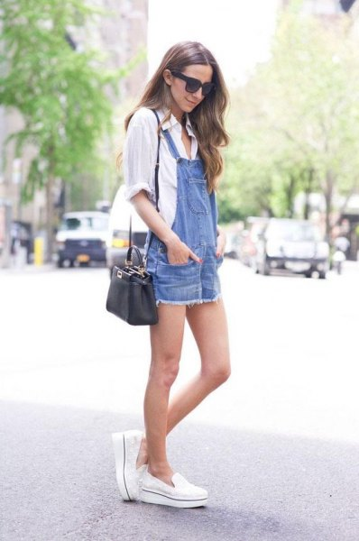 white shirt with buttons and blue denim dress