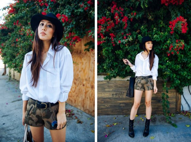 white shirt with buttons and camo mini shorts