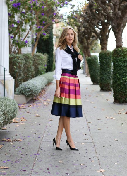 white shirt with buttons and color-block midi skirt