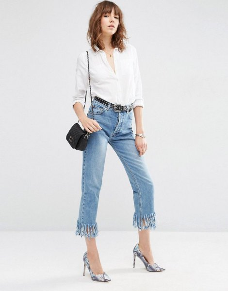 white shirt with buttons and short jeans