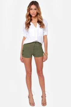 white shirt with buttons and green khaki mini shorts