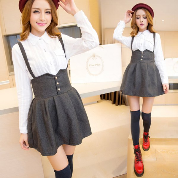 white shirt with buttons and gray high-rise mini skirt