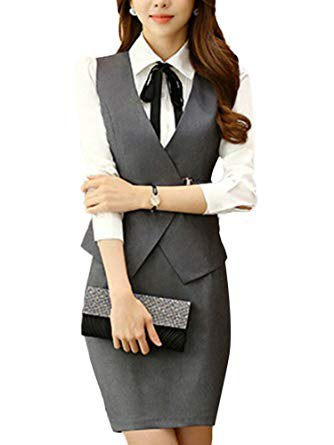 white shirt with buttons, gray, narrow-cut waistcoat and figure-hugging mini skirt