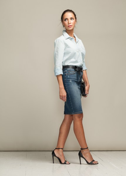 white shirt with buttons and gray-blue denim skirt