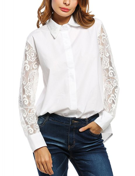 white shirt with buttons and lace sleeves
