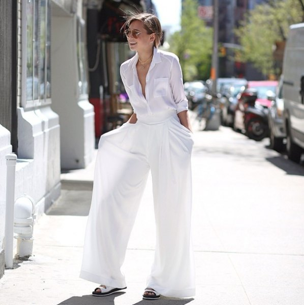 white shirt with buttons and matching palazzo pants and sandals
