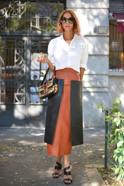 white shirt with buttons and pink and gray maxi skirt