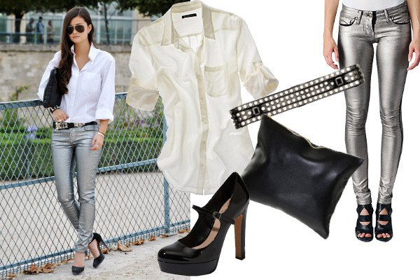 white shirt with buttons and silver skinny jeans