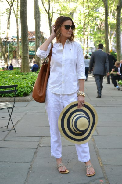 white shirt with buttons and sky blue, cropped trousers