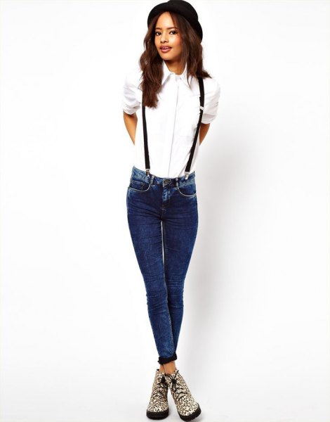 white shirt with buttons and suspender jeans