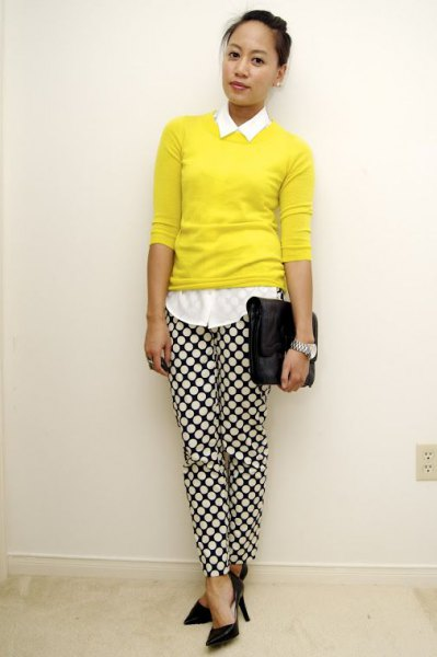 white shirt with buttons, yellow sweater and checked trousers