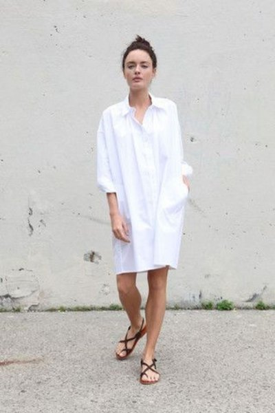 white tunic shirt dress with buttons and black flat sandals