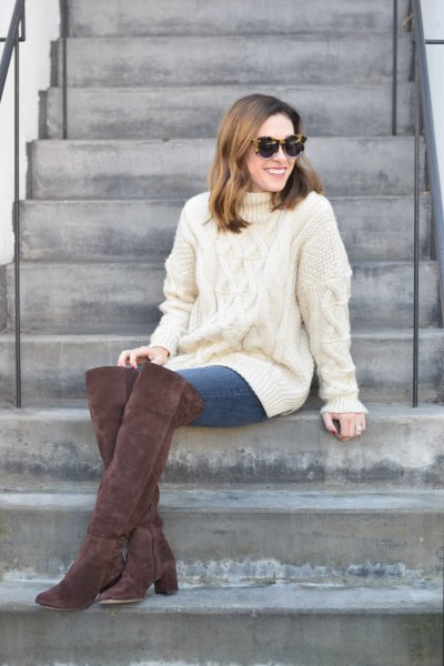 white cable knit suede boots