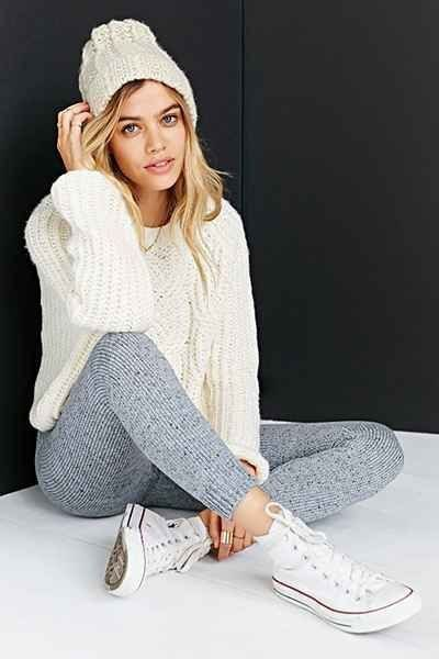 white knitted sweater with gray knitted gaiters