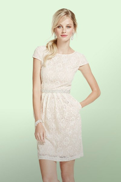 white lace sleeves ruched waist mini lace dress