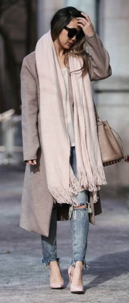 white cashmere scarf gray long woolen coat