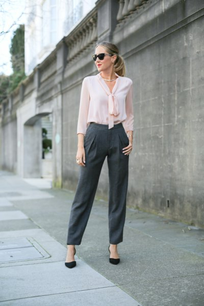 white chiffon blouse gray chinos with wide legs
