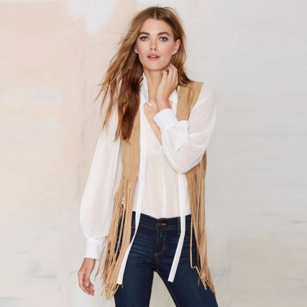 white chiffon blouse with hippie vest with crepe fringes