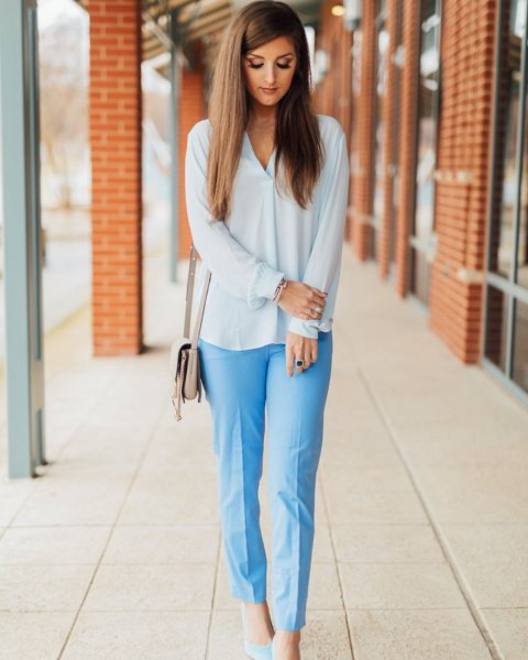 white chiffon blouse with light blue, loosely cut trousers