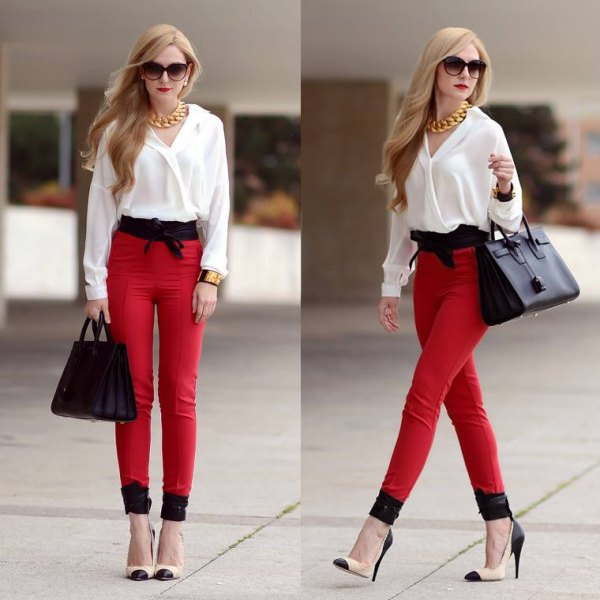 white chiffon blouse with red, narrow high-rise pants